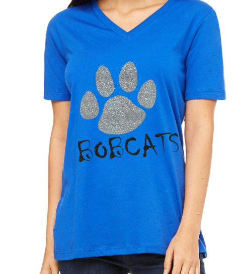 Bella Missy Bobcats with Paw in Glitter on Royal