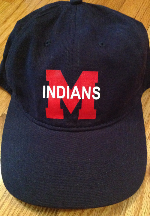 Navy Baseball Cap with Vinyl M and Indians