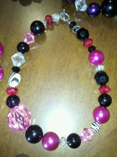 Hot Pink and Black Necklace #21