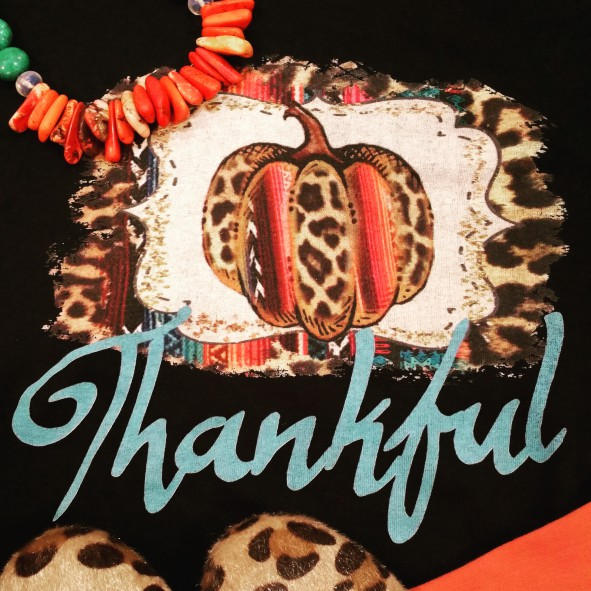 Serape Leopard Thankful Pumpkin Short Sleeve Tee