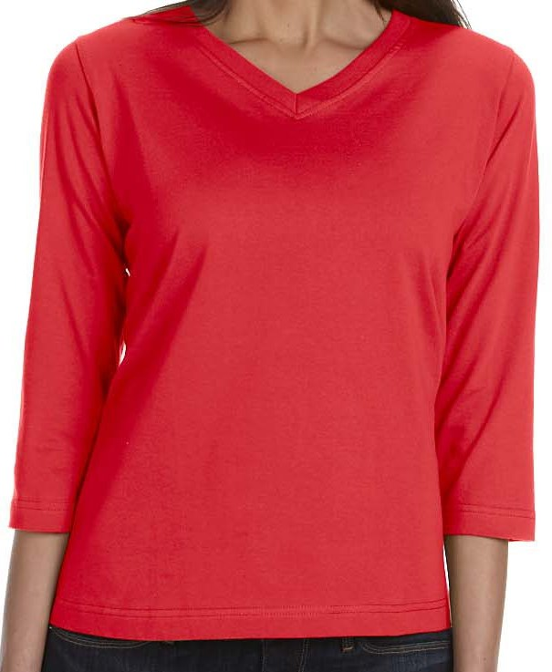 LAT 3577  Ladies' Combed Ringspun Jersey V-Neck 3/4-Sleeve T-Shirt
