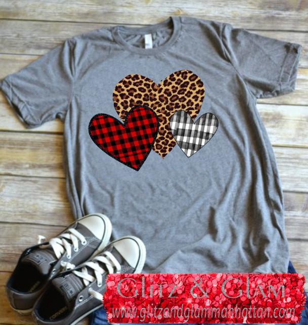 3 Printed Heart TShirt