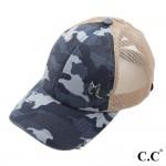 CC Criss Cross  Distressed Camo Ponytail Cap Blue