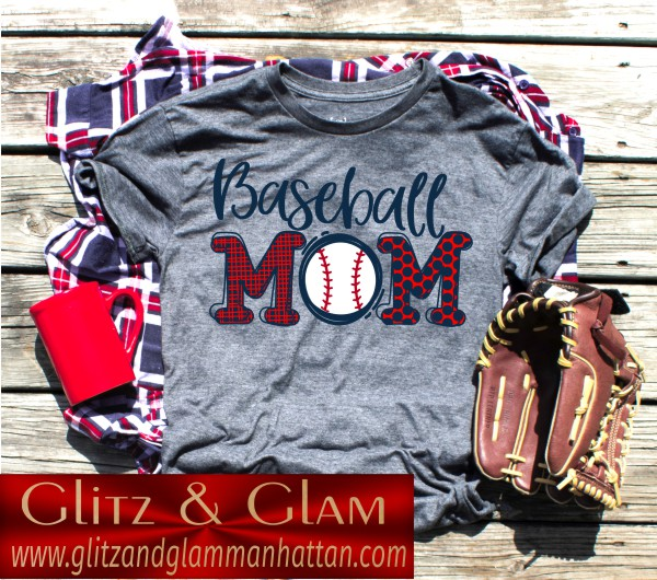 Baseball Mom Cartoon Font T-Shirt