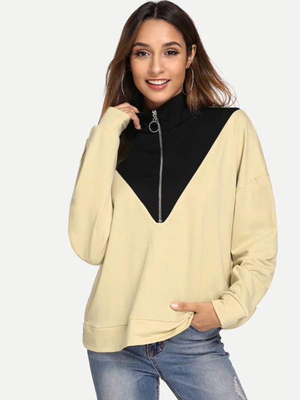 Contrast Panel Quarter Zip Sweatshirt
