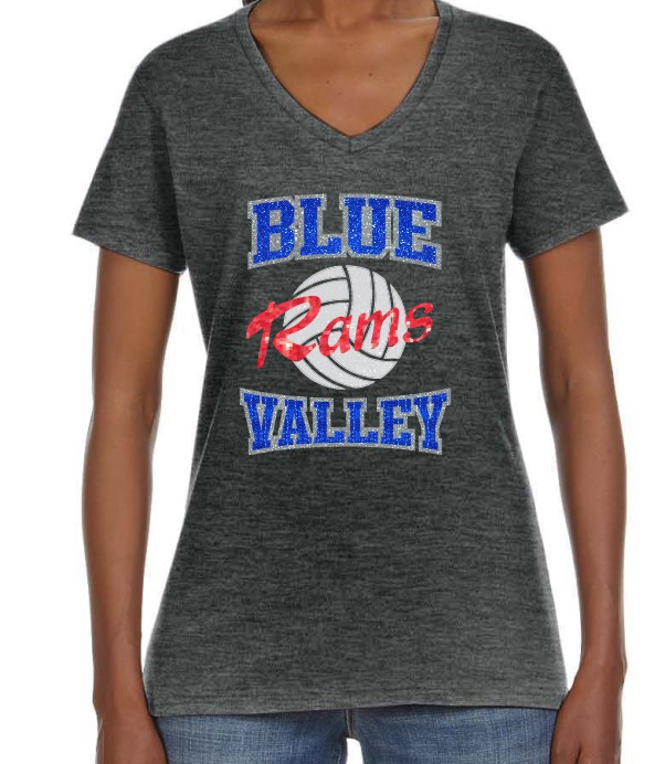 Blue Valley Rams Glitter  Volleyball T-Shirt