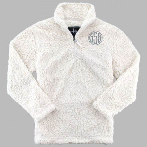 BoxerCraft Quarter Zip Sherpa with Glitter Monogram