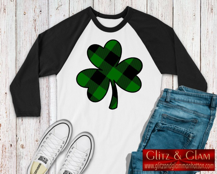 Buffalo Plaid Shamrock Baseball Tee