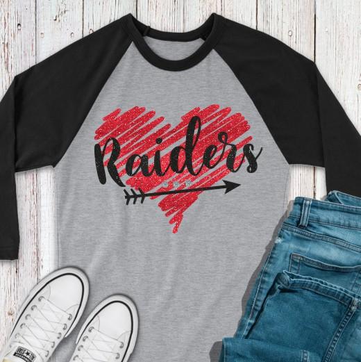 Baseball Tee with Glitter Squiggle Raiders Heart