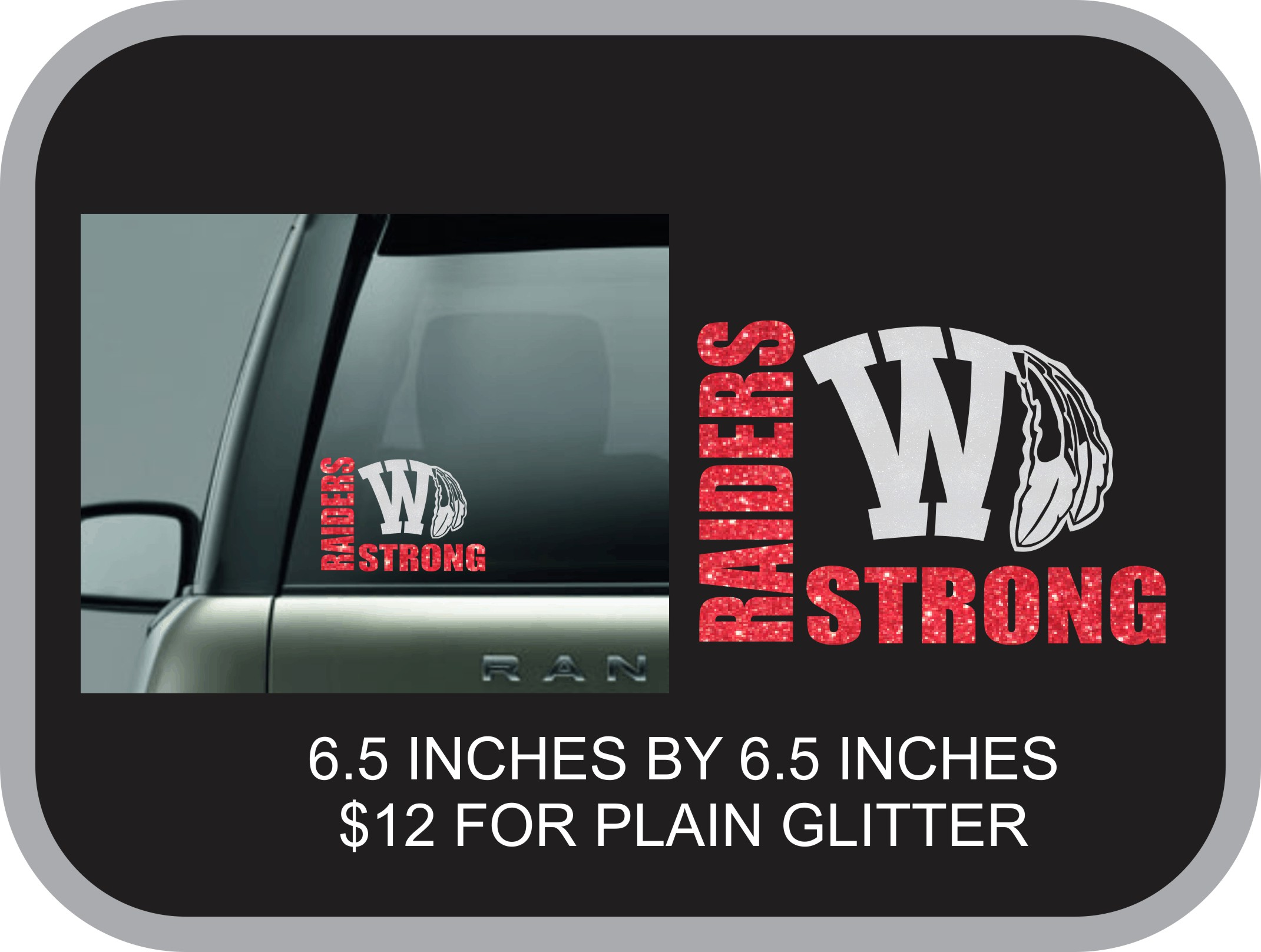 Raider Strong Glitter Window Decal