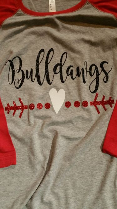 Bulldawgs Glitter Heart Baseball Tee