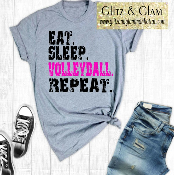 EAT SLEEP VOLLEYBALL REPEAT Print Volleyball T-Shirt