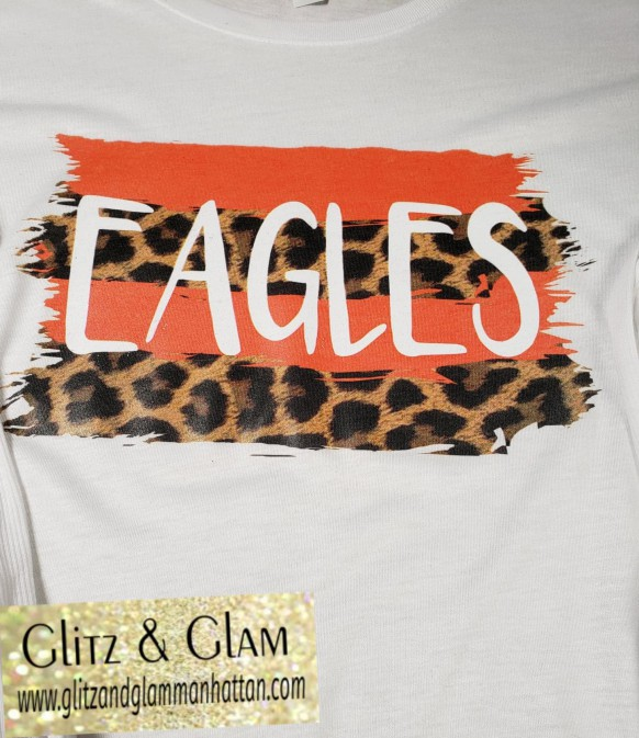2019 Eagles Orange and Leopard Stripe Printed T-Shirt