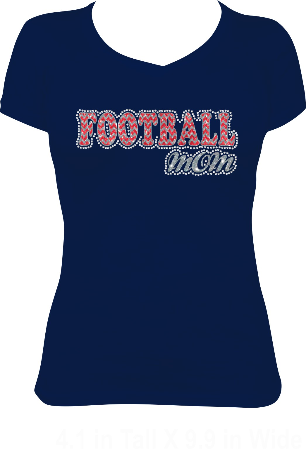 Chevron Football Mom in Red and Silver Glitter