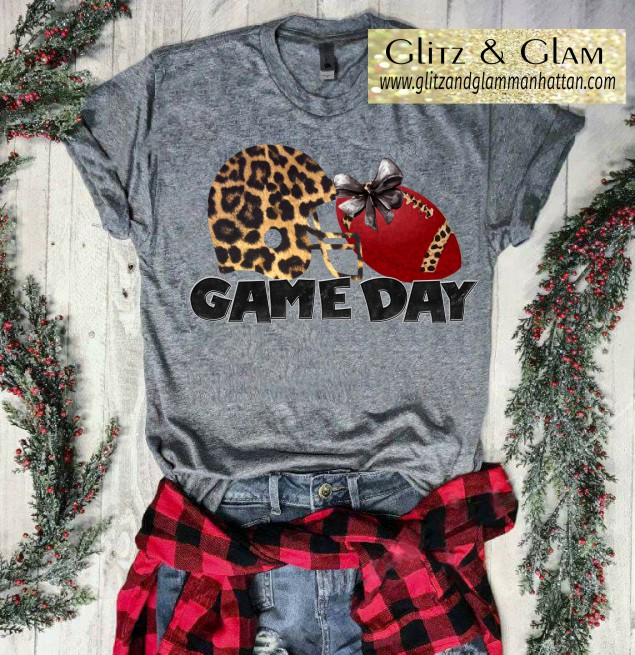 Game Day Leopard Helmet Football Printed T-Shirt