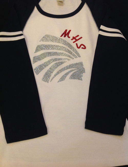 Navy and White Girls Baseball Style MHS Top