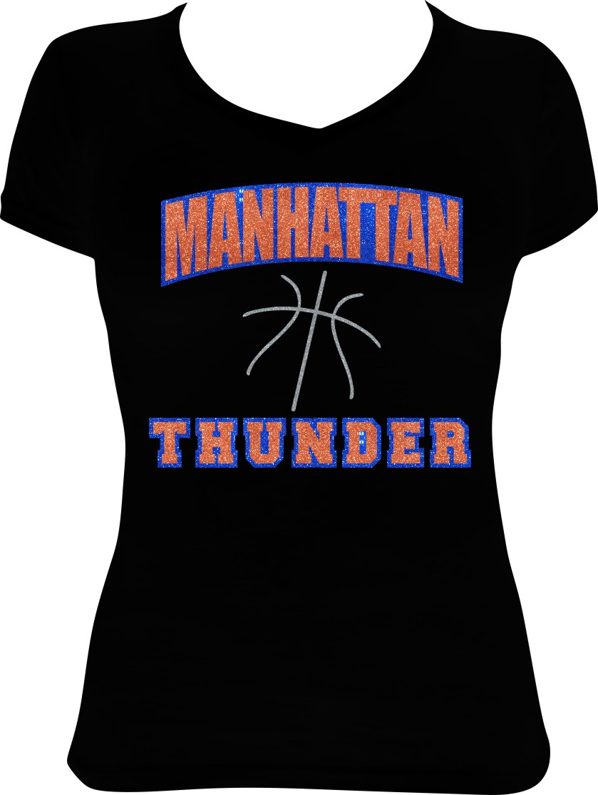 Glitter Manhattan Thunder with Royal Outline on Black