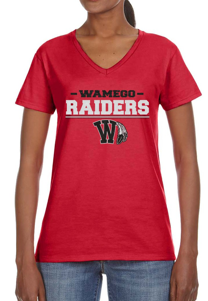 Glitter Ladies Raiders Red V-Neck