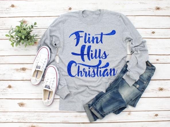 Flint Hills Christian Blue Glitter T-Shirt