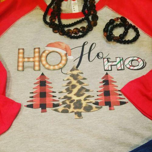 Ho Ho Ho Multi Color Christmas Tree's Tee