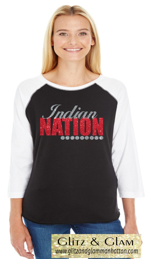 Glitter Indian Nation Baseball Tee