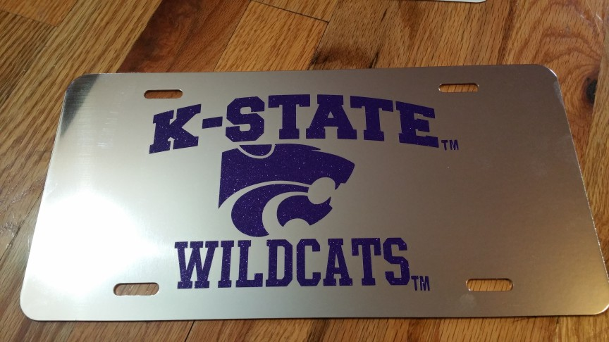 Kansas State Wildcats Glitter License Plate in Chrome