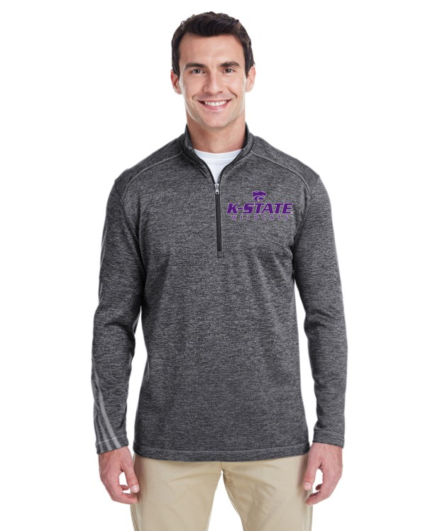 K-State Men's Adidas Performance Quarter Zip Black Heather