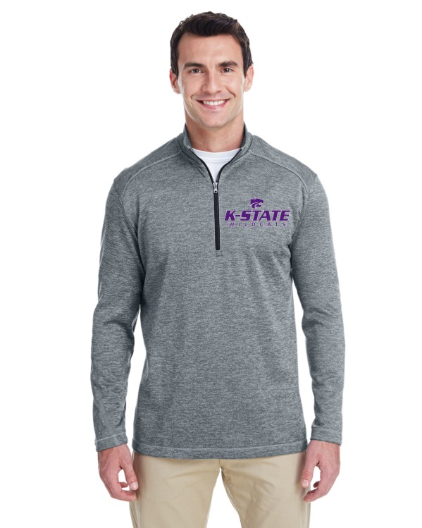 K-State Men's Adidas Performance Quarter Zip Grey Heather