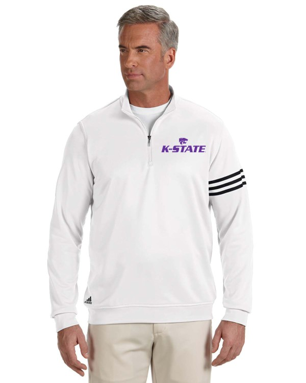 K-State Men's Adidas Performance Quarter Zip White