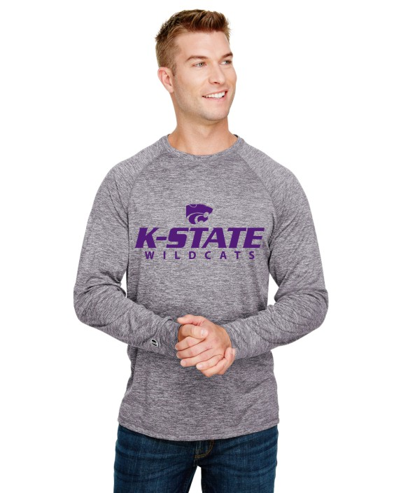 K-State Men's Holloway Performance Long Sleeve Graphite Heather