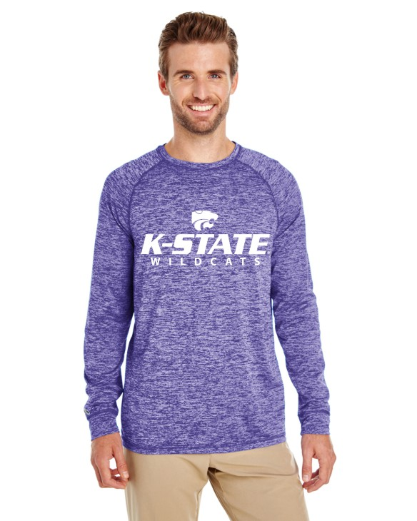 K-State Men's Holloway Performance Long Sleeve Purple Heather