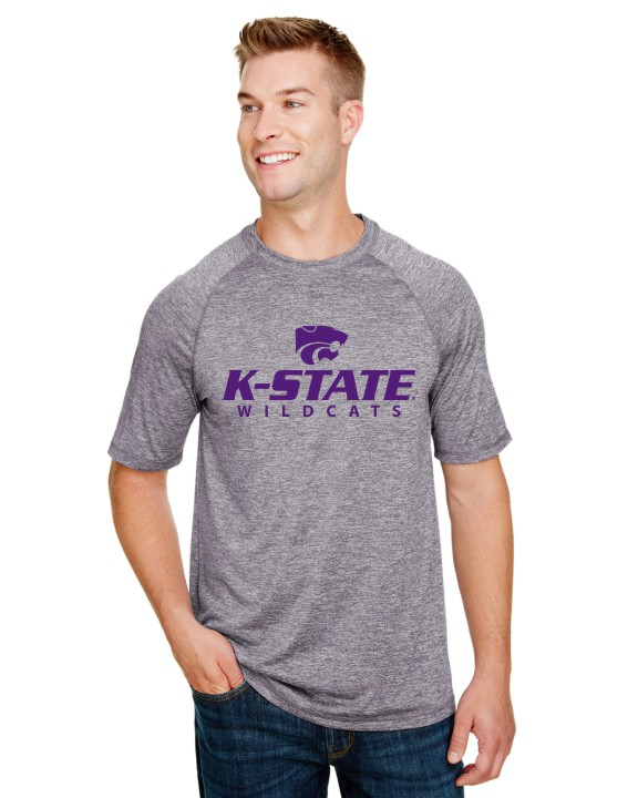 K-State Men's Holloway Performance Short  Sleeve Graphite Heather