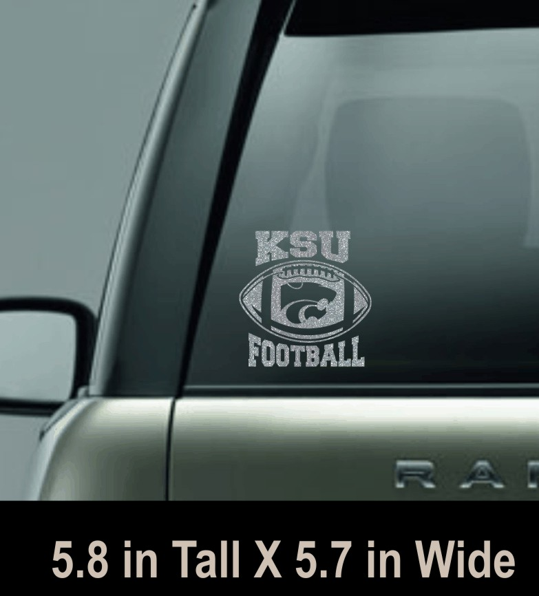 KSU Football Silver Glitter Car Window Decal