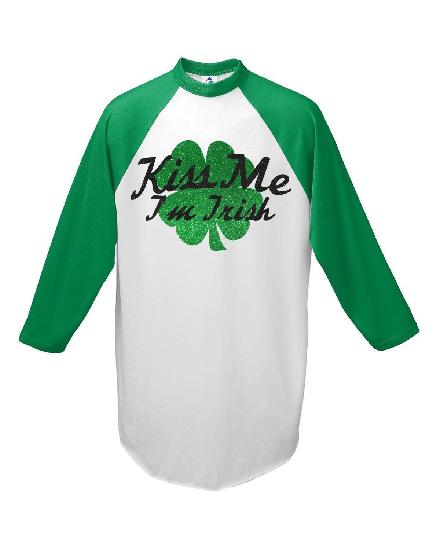 Kiss Me I'm Irish on Augusta Baseball Tee