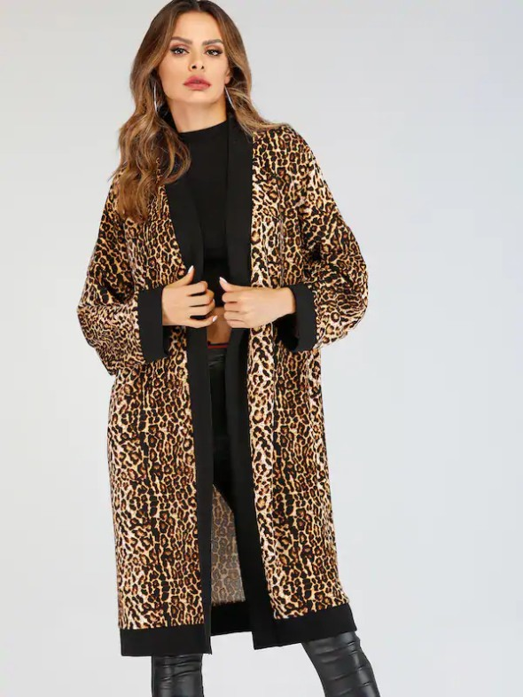 Contrast Trim Leopard Print Coat