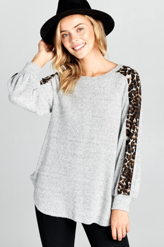 Leopard and Grey Sweater