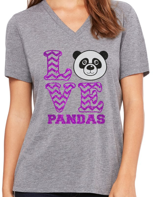 Panda Glitter Love Bella Ladies V-Neck