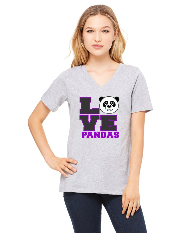 Panda Love Printed Bella Ladies V-Neck