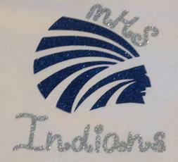 Silver Glitter MHS Indians Girls Shirt