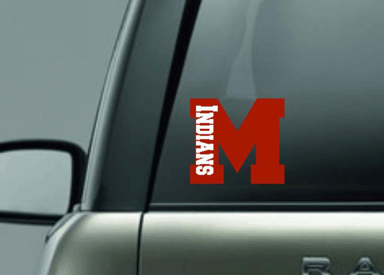 Decal M with Indians Plain Vinyl
