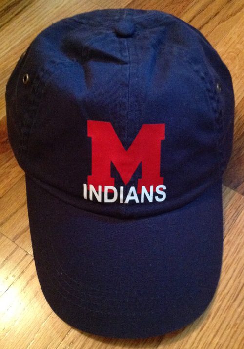 Washed Navy Baseball Cap with Vinyl M