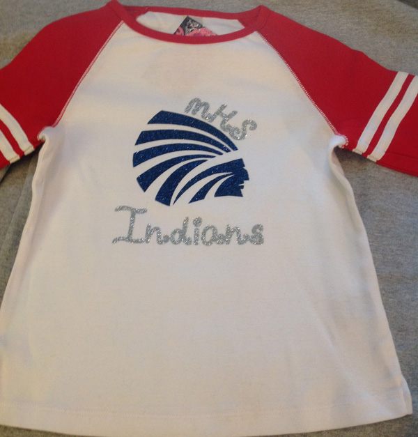 Girls Baseball Style T with Power Indian