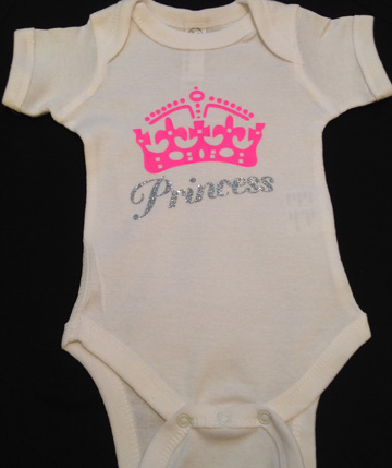 Hot Pink Crown with Silver Glitter Princess Onesie