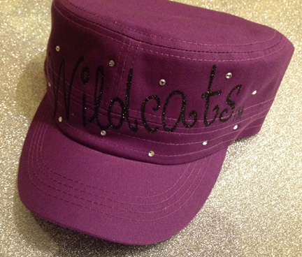 Purple Hat with Black Wildcats in Glitter