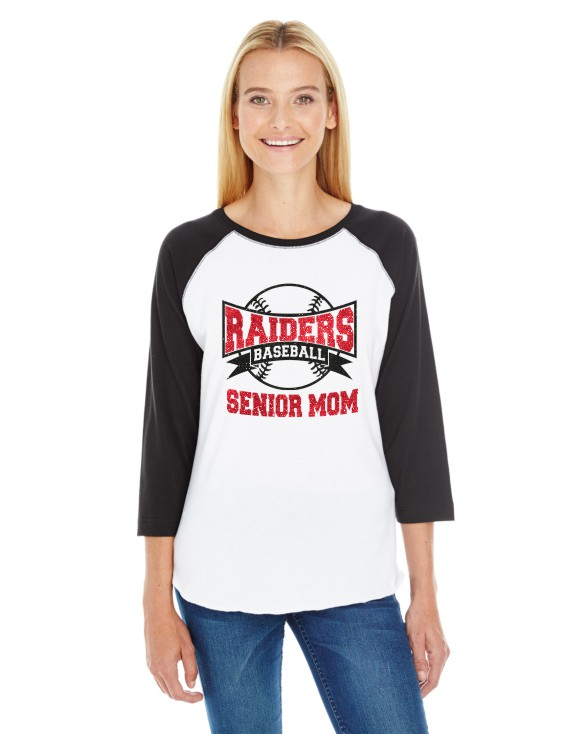 Glitter Senior Mom  LAT Ladies' Baseball T-Shirt