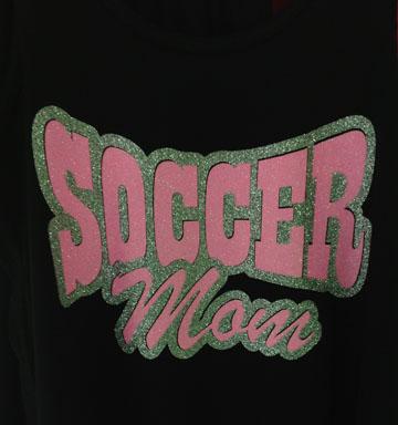 Neon Pink Glitter Soccer Mom