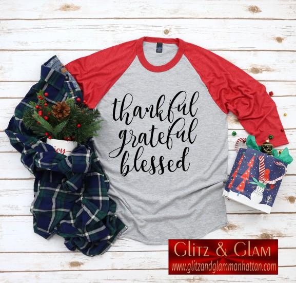 Thankful Grateful Blessed Baseball T-Shirt