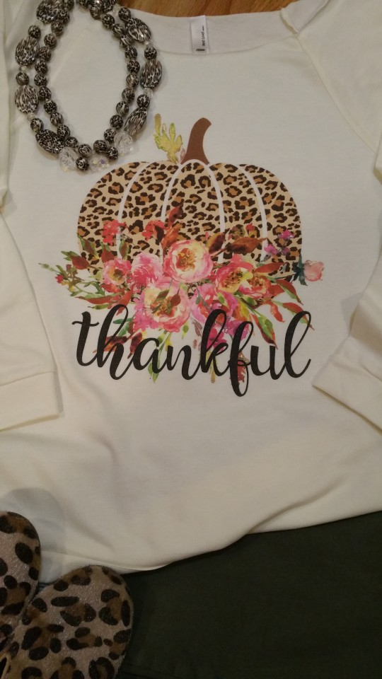 Leopard Thankful Pumpkin Print on Next Level 3/4 Top
