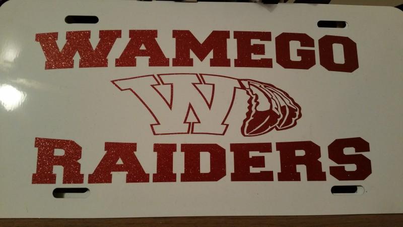 Wamego White Glitter License Plate
