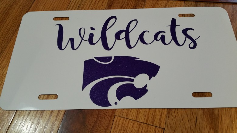 Kansas State Wildcats Glitter License Plate on White